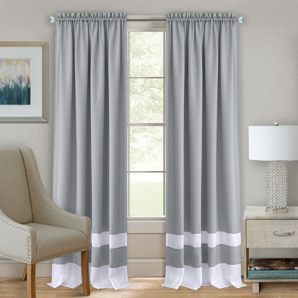 Darcy Grey/White Polyester Rod Pocket Curtain 52 in. W x 84