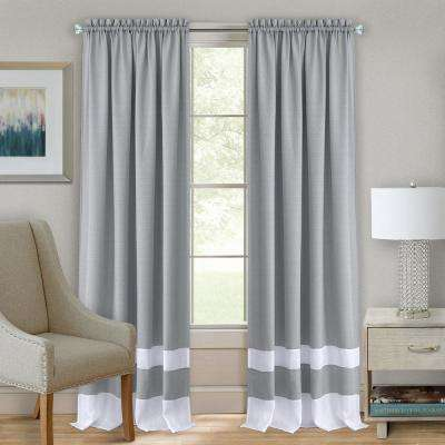 Darcy Grey/White Polyester Rod Pocket Curtain 52 in. W x 84 in. L