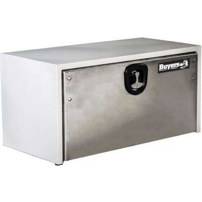 White Steel Underbody Truck Box with Polished Stainless Steel Door, 18 in. x 18 in. x 60 in.