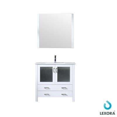 36 in. Single Bath Vanity in White w/ Integrated Ceramic Vanity Top w/ White Integrated Square Sink, 34 in. Mirror