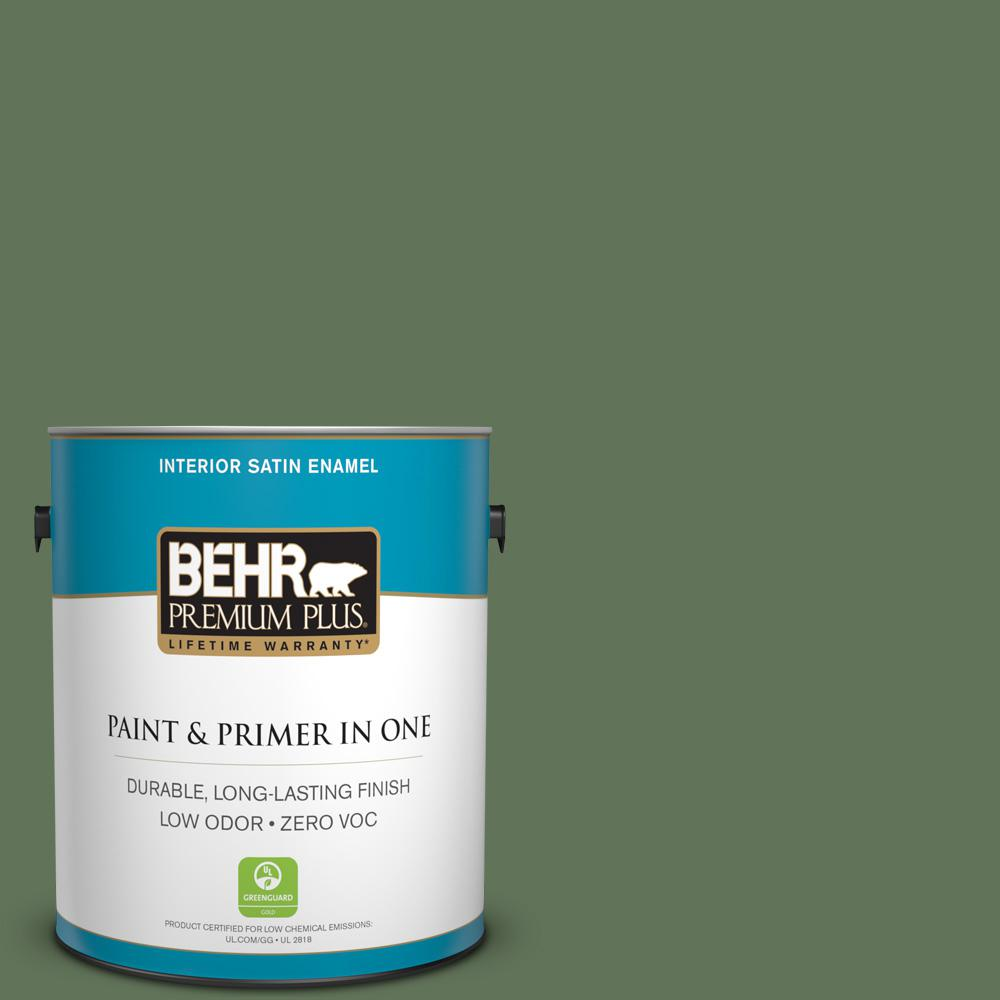 1 gal. #PPU10-01 Scallion Satin Enamel Zero VOC Interior Paint and