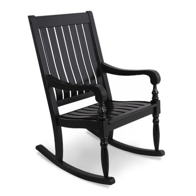 Bonn Oversized Black Wood Outdoor Rocking Chair