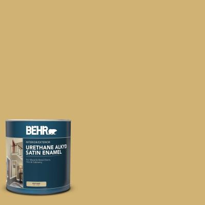 Behr 1 Qt M320 5 Dried Chamomile Satin Enamel Urethane Alkyd Interior Exterior Paint 793004 The Home Depot