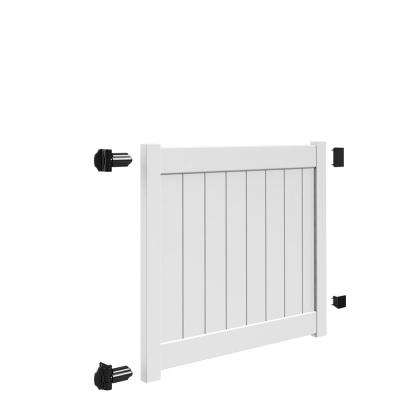 Bryce and Washington Series 5 ft. W x 4 ft. H White Vinyl Drive Fence Gate Kit