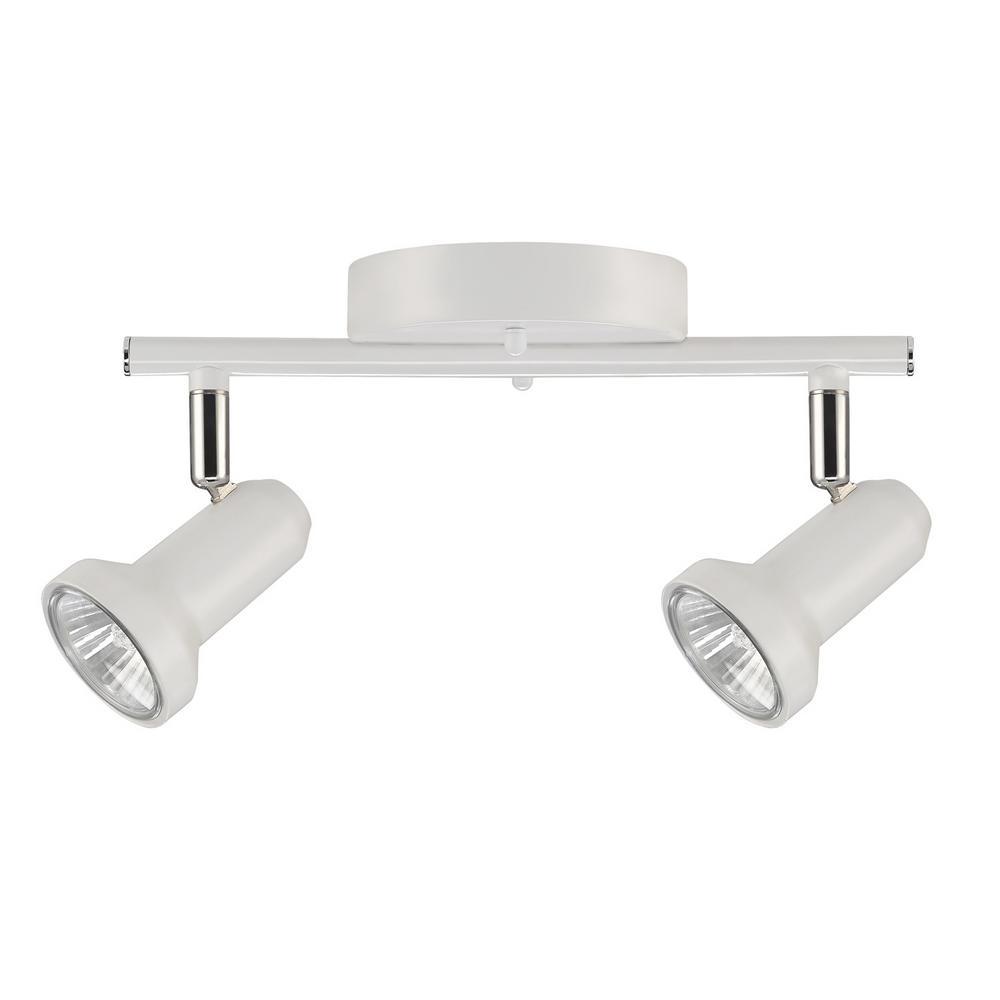 Melo 0.83 ft. 2-Light Glossy White Halogen Track Lighting Kit