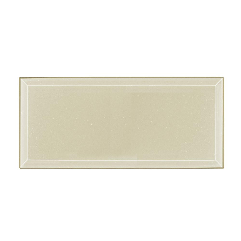 Frosted Elegance Cecillia Creme Sparkle 8 in. x 16 in. Glass