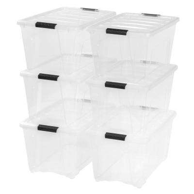 54-Qt.  Stack and Pull Storage Box in Clear (6-Pack)