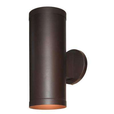 Poseidon 2-Light Bronze Metal Outdoor Sconce with Clear Glass Shade
