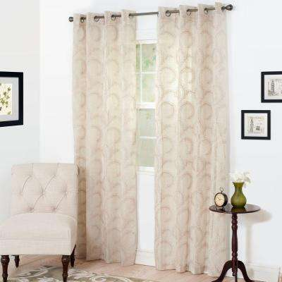 Semi-Opaque Andrea Taupe Polyester Curtain Panel 54 in. W x 108 in. L