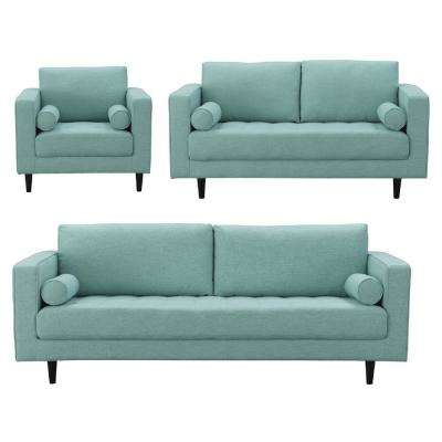 Arthur 3-Piece Mint-Green Blue Tweed Sofa, Loveseat, and Armchair Set