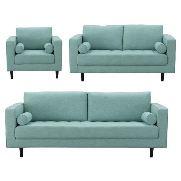 Manhattan Comfort Arthur 3-Piece Mint-Green Blue Tweed Sofa ...