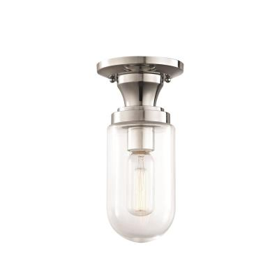 Clara 1-Light Polished Nickel Semi-Flush Mount with Clear Glass