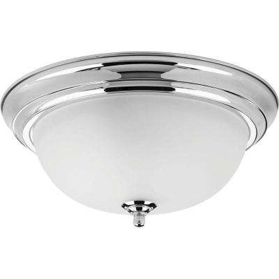Dome Glass Collection 13.25 in. 2-Light Polished Chrome Flush Mount with Etched Glass