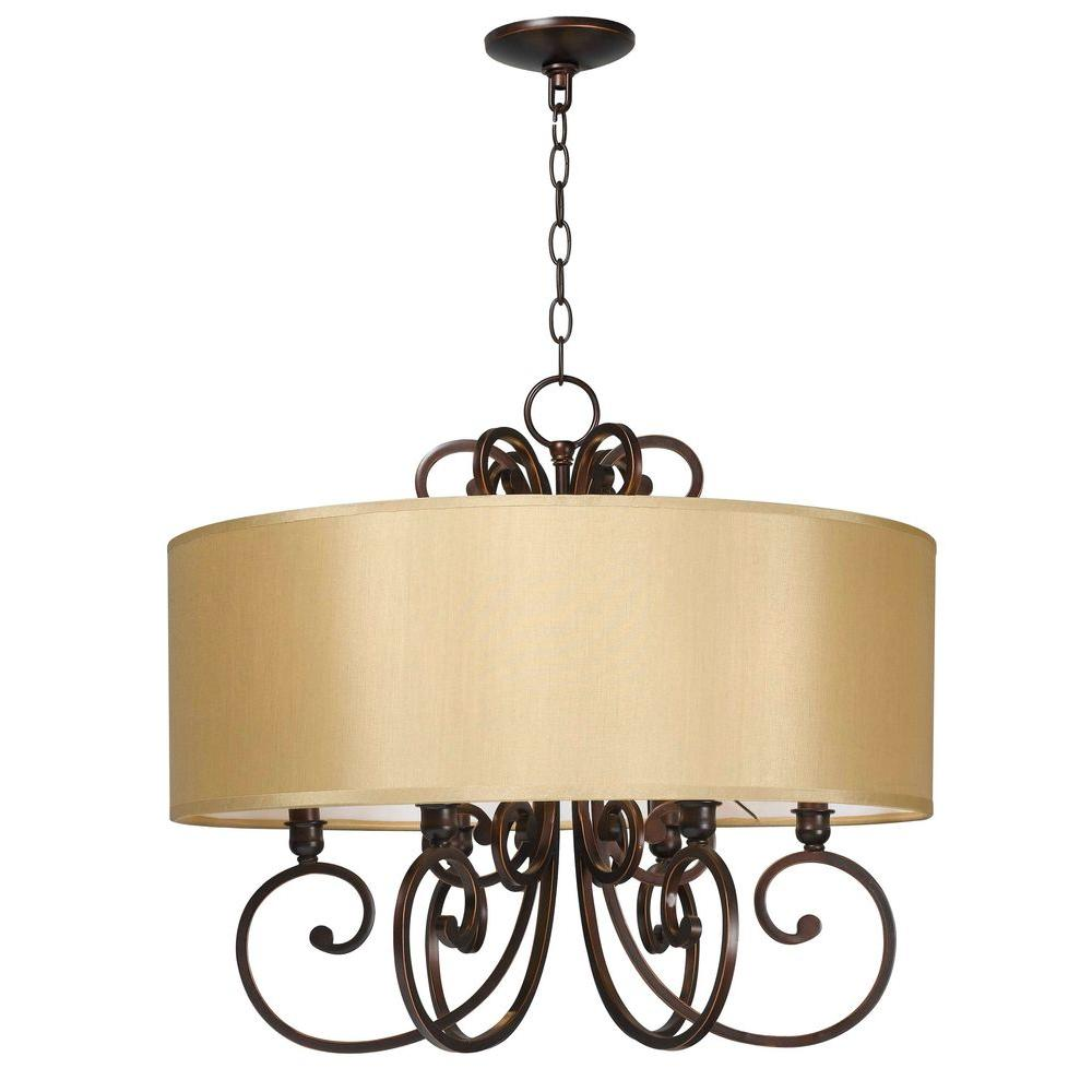 World imports rue maison 6 light iron and euro bronze chandelier world imports rue maison 6 light iron and euro bronze chandelier with beige drum shade wi352629 the home depot arubaitofo Choice Image