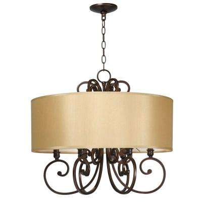 Rue Maison 6-Light Iron and Euro Bronze Chandelier with Beige Drum Shade
