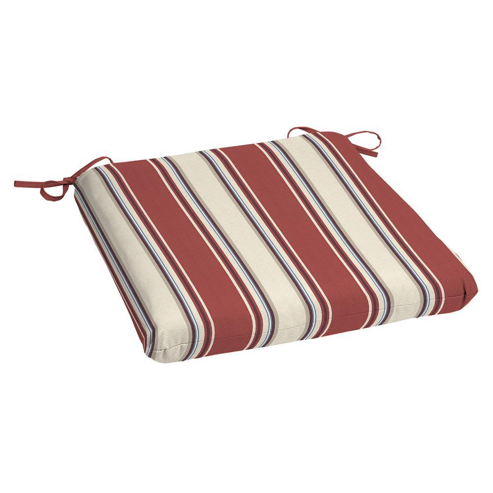 Chili Herringbone Stripe Square Outdoor Seat Cushion (2-Pack)