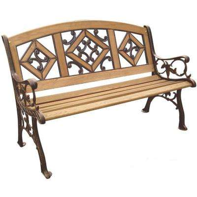 Florence Wood Inlay Patio Park Bench
