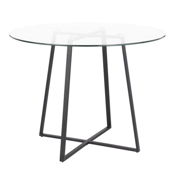 Lumisource Cosmo Round Dining Table in Black with Clear Glass Top