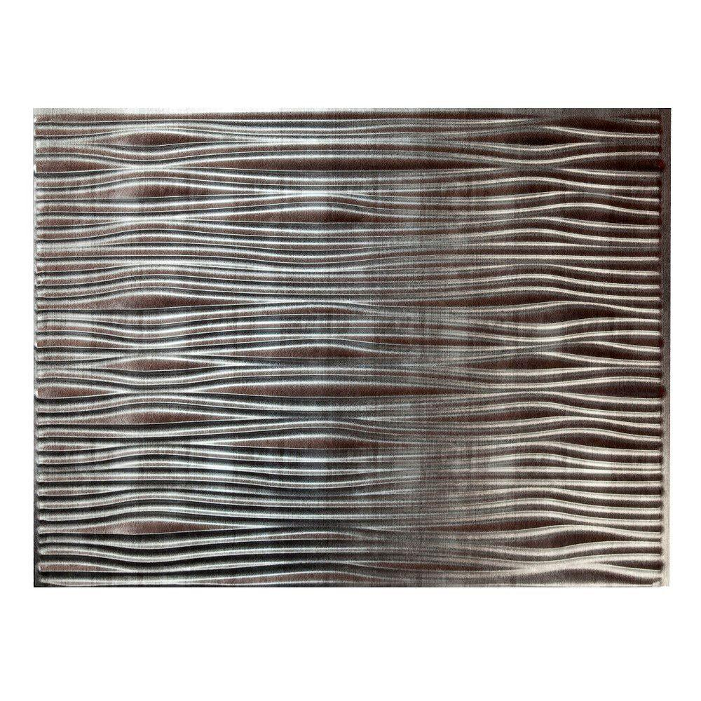 - Fasade 18.25 In. X 24.25 In. Crosshatch Silver Waves PVC