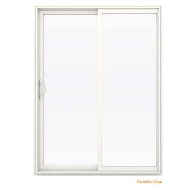 60 in. x 80 in. V-2500 White Vinyl Left-Hand Full Lite Sliding Patio Door w/White Interior