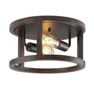 Atelier 12.75 in. 2-Light Brown/Oil Rubbed Bronze Iron Rustic Industrial LED Flush Mount