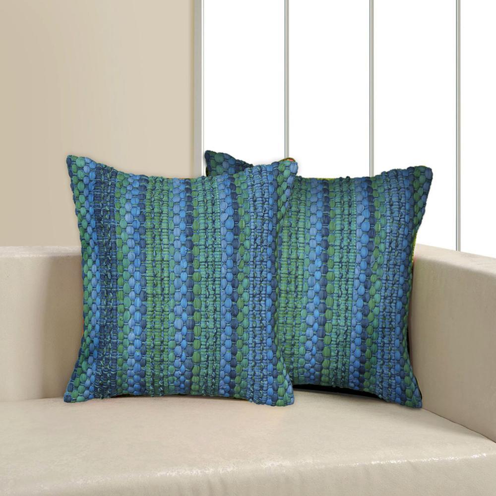 Contemporary 18 in. x 18 in. Blue Square Decorative Accent Pillow
