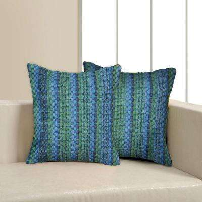 Contemporary 18 in. x 18 in. Blue Square Decorative Accent Pillow