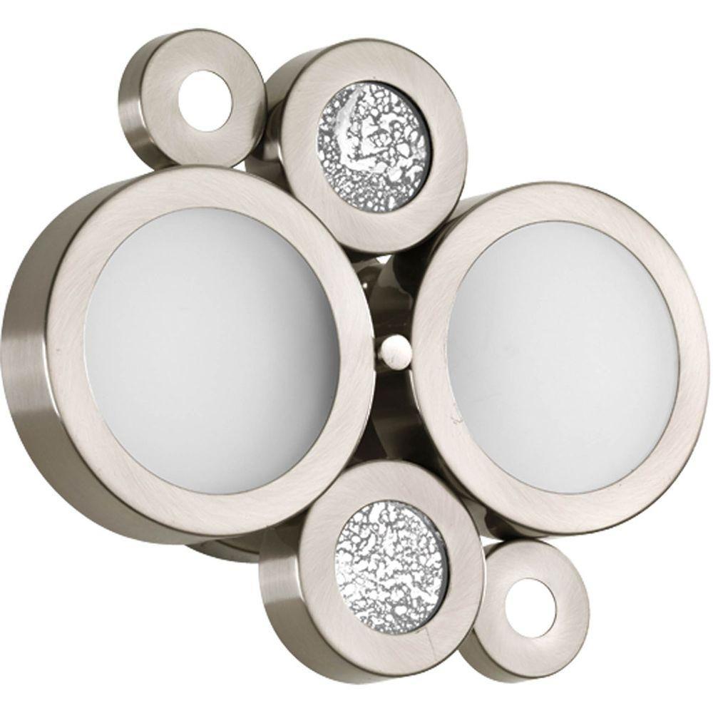 Progress Lighting Bingo Collection 2-Light Brushed Nickel Bath Light