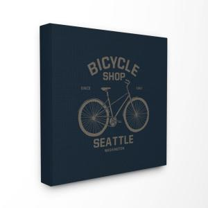 17 In X Navy Blue And Gold Seattle Bicycle Sign By Artist Sous La Pluie Canvas Wall Art