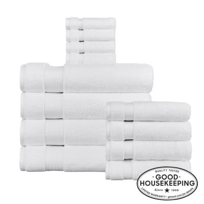 Egyptian Cotton 12-Piece Bath Sheet Towel Set in White