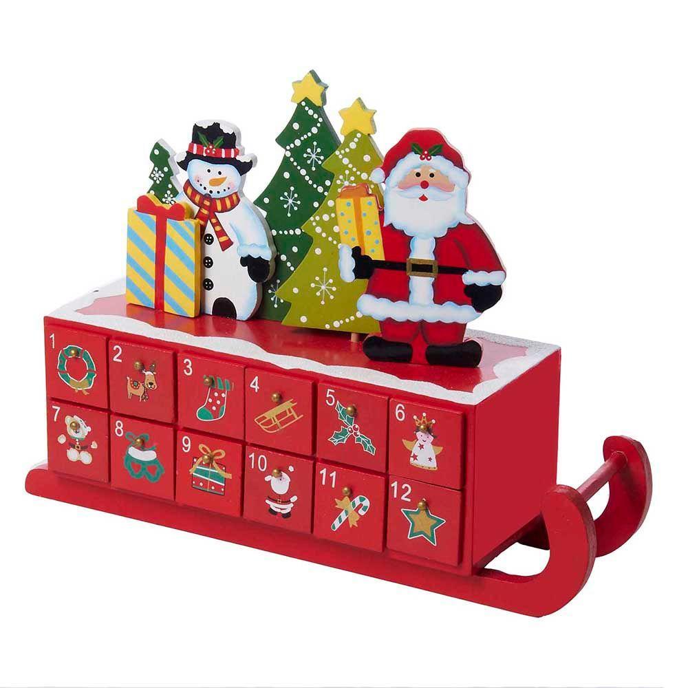 14 in. Wooden Sleigh Shaped Advent Calendar