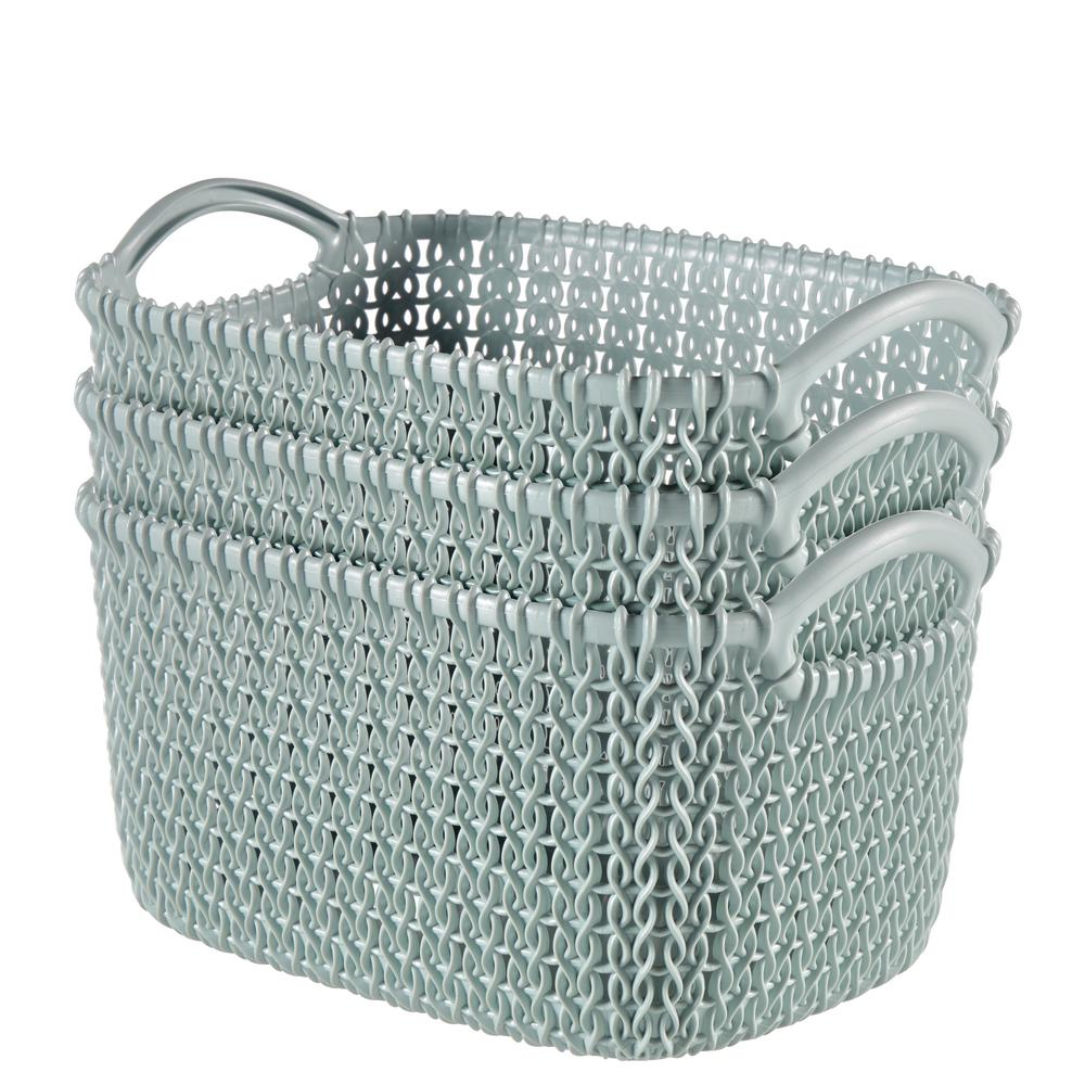 8.0 Qt. Knit Rectangular Resin Small Storage Basket Set in Misty