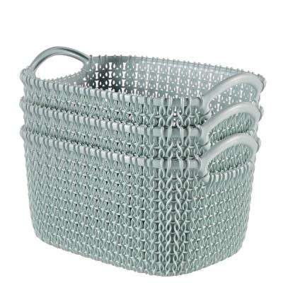 8.0 Qt. Knit Rectangular Resin Small Storage Basket Set in Misty Blue (3-Piece)