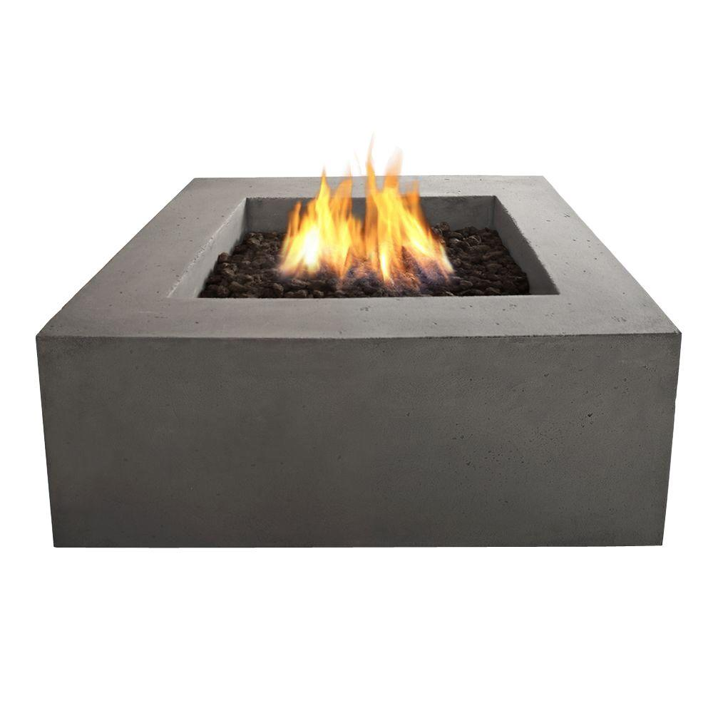 Square Natural Gas Outdoor Fire Pit In Glacier Gray