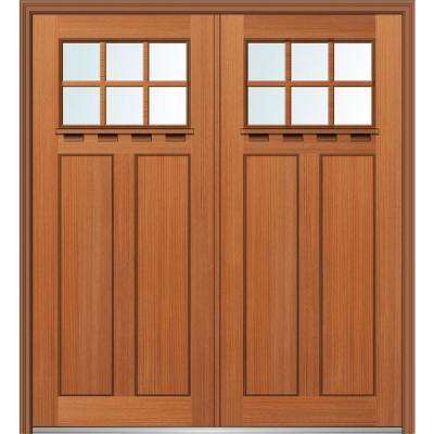 72 in. x 80 in. Shaker Right-Hand Inswing 6-Lite Clear Low-E Stained Fiberglass Fir Prehung Front Door with Shelf