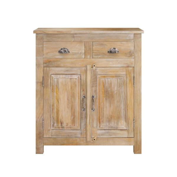 Natural Distressed Routon Hand Painted 2-Door Wood Cabinet with Drawers
