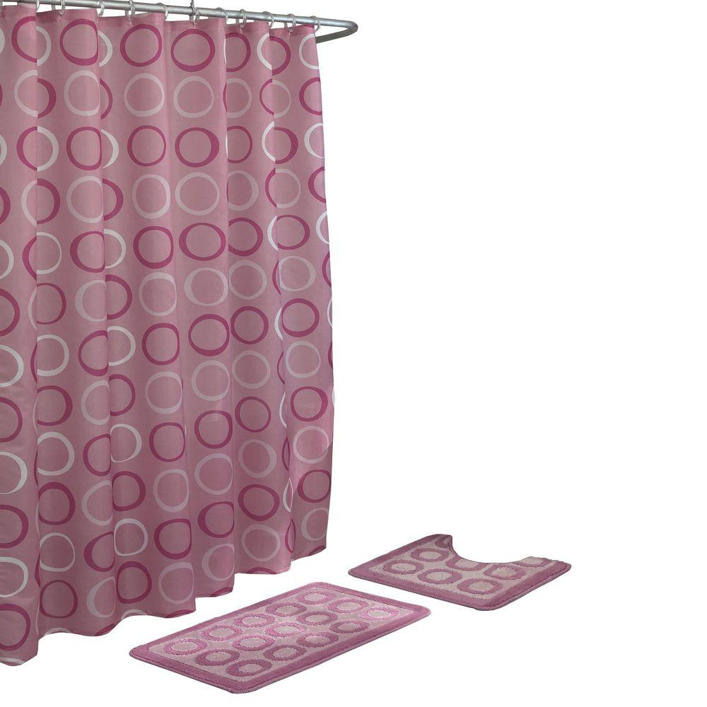 Bath Fusion Terrell Dusty Rose 15 Piece Rug And Shower Curtain Set