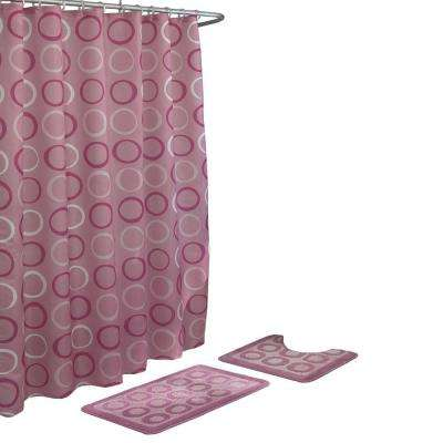 Terrell Dusty Rose 15-Piece Bath Rug and Shower Curtain Set