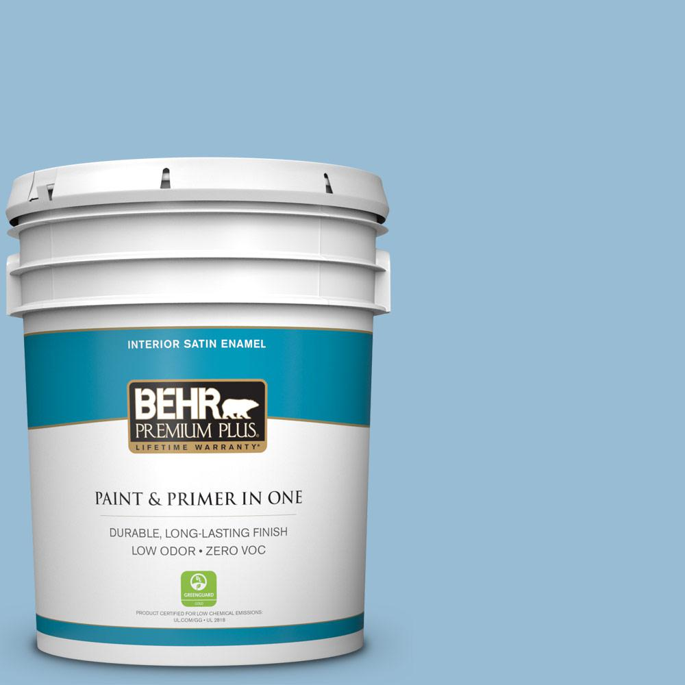 5 gal. #PPU14-11 Gentle Sky Zero VOC Satin Enamel Interior Paint