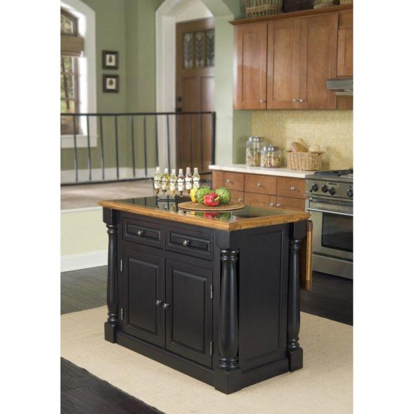 HOMESTYLES Monarch Black and Oak Kitchen Island with Granite Top 5009-94