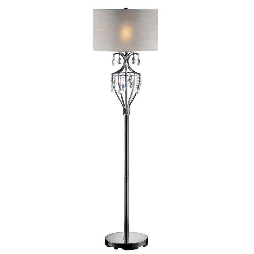 HomeSullivan 60 in. Chrome Floor Lamp-DISCONTINUED