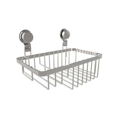 Hanging Wall Mounted Shower Caddy with Twist Lock Suction Cups in Stainless Steel