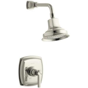 Margaux 1-Spray 6.5 in. Single Wall Mount Fixed Shower Head in Polished Nickel