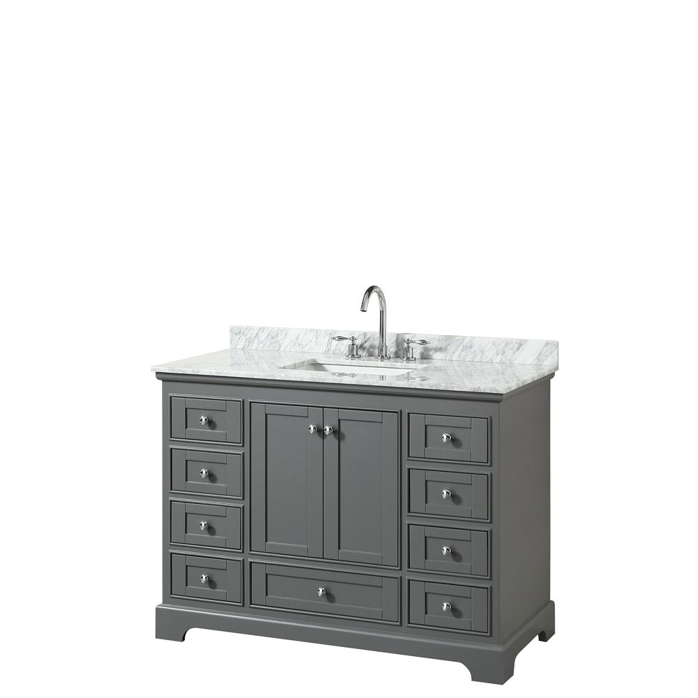 Wyndham Collection Deborah 48 in. W x 22 in. D Vanity in Dark Gray with Marble Vanity Top in Carrara White with White Basin