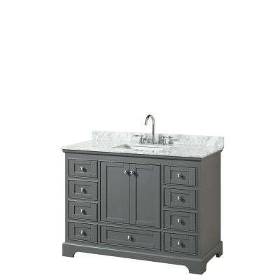 Deborah 48 in. W x 22 in. D Vanity in Dark Gray with Marble Vanity Top in Carrara White with White Basin