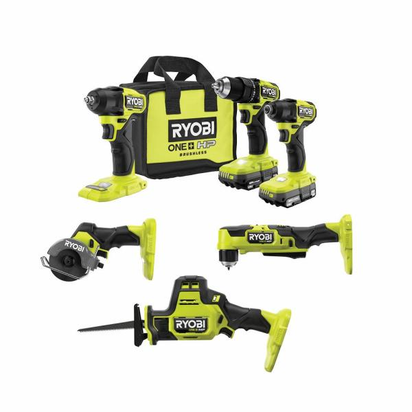 ONE+ HP 18V Brushless Cordless Compact 6-Tool Combo Kit with (2) 1.5 Ah Batteries, Charger, and Bag