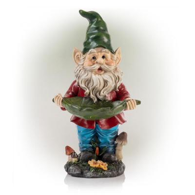 16 in. Tall Outdoor Garden Gnome and Bird Feeder Yard Statue Decoration