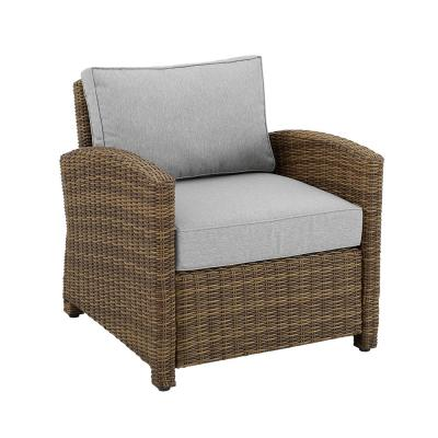 Bradenton Weathered Brown Wicker Outdoor Lounge Chair with Gray Cushion