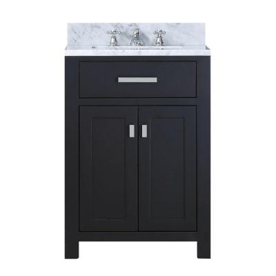 24 in. W x 21 in. D Vanity in Espresso with Marble Vanity Top in Carrara White and Chrome Faucet