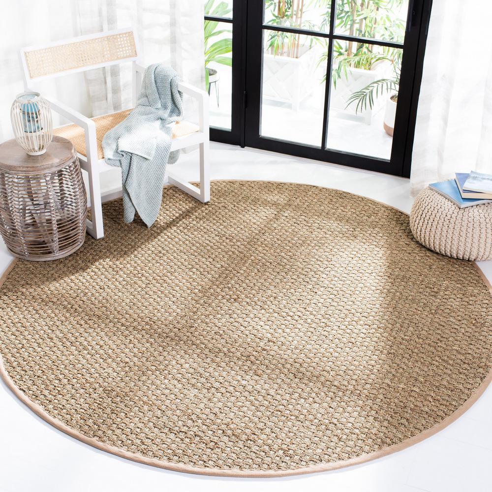Natural Fiber Tan/Beige 9 ft. x 9 ft. Round Indoor Area Rug